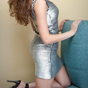 Nicole Miller Silver Sequin Crochet Dress
